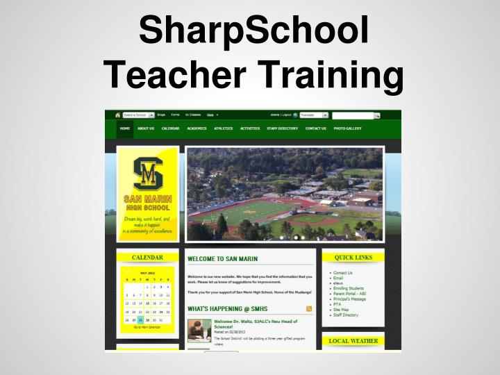 Sharpschool teacher training
