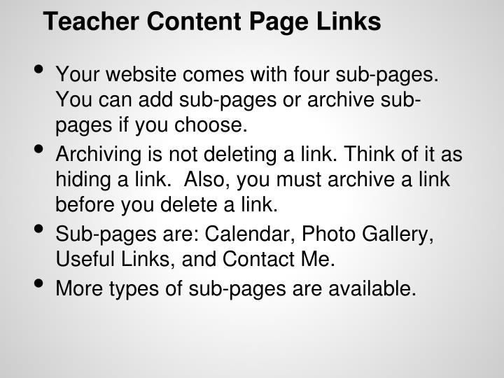 Teacher Content Page Links