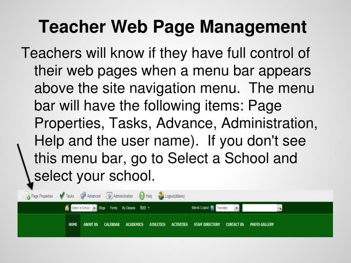 Teacher Web Page Management