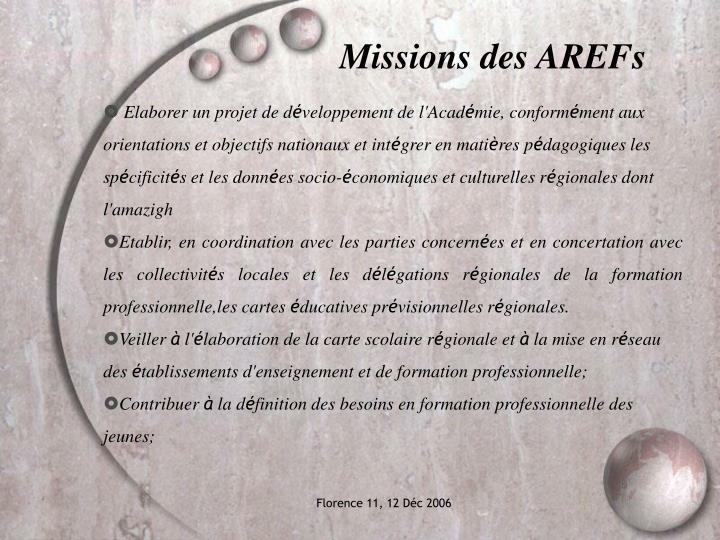 Missions des AREFs