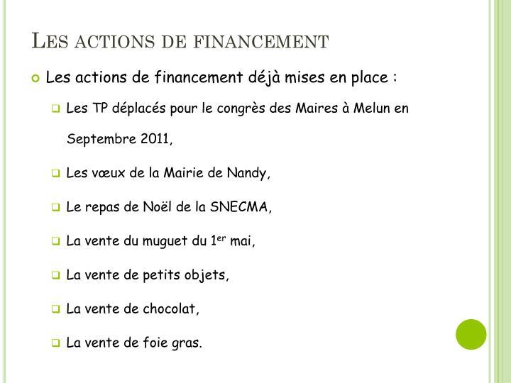 Les actions de financement