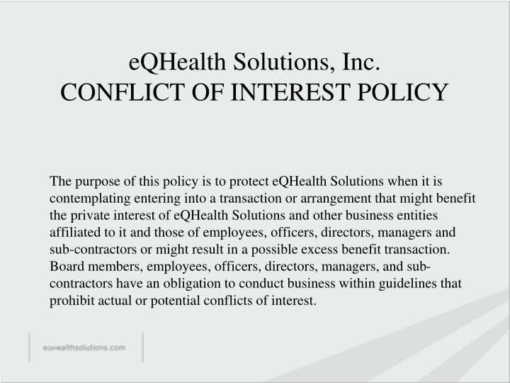 eqhealth solutions inc conflict of interest policy n.