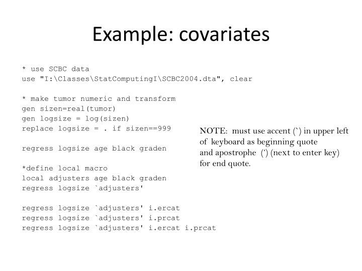 Example: covariates