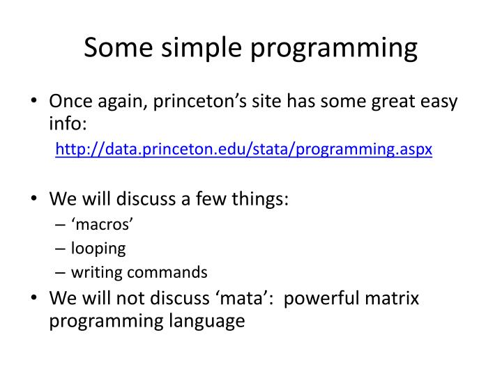 Some simple programming