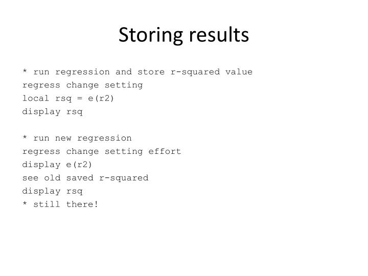 Storing results