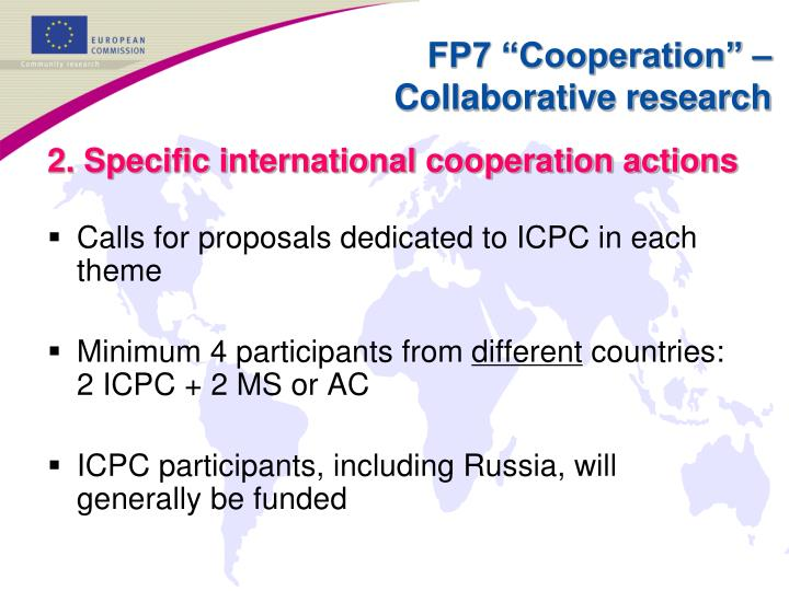 2. Specific international cooperation actions