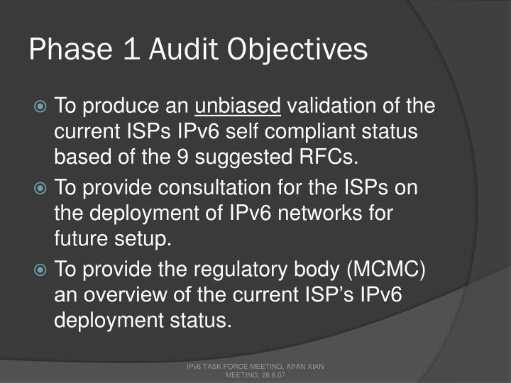 Phase 1 Audit Objectives