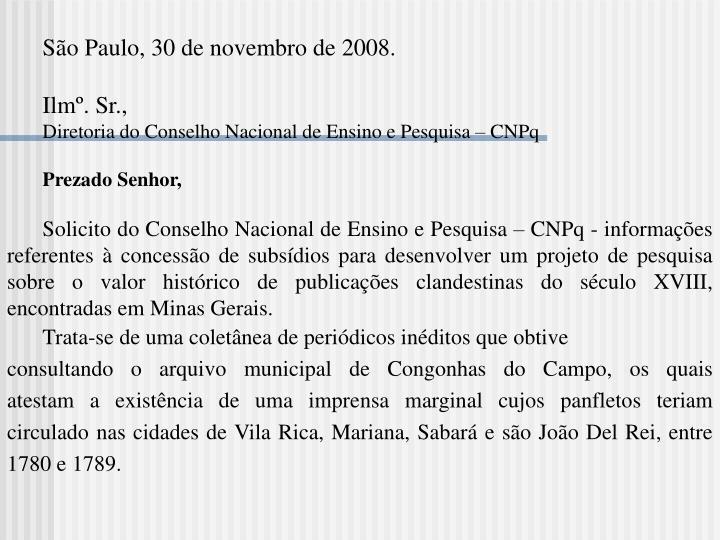 São Paulo, 30 de novembro de 2008.