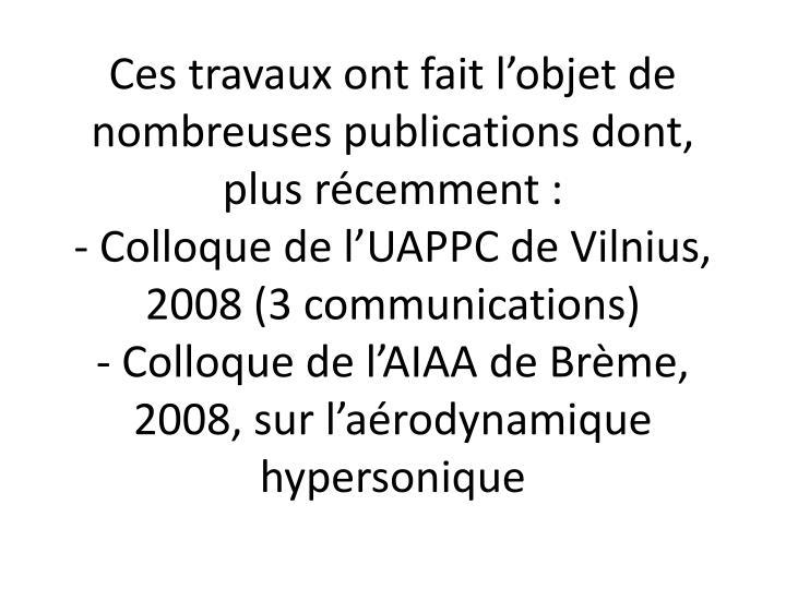 Ces travaux ont fait l'objet de nombreuses publications dont, plus récemment :