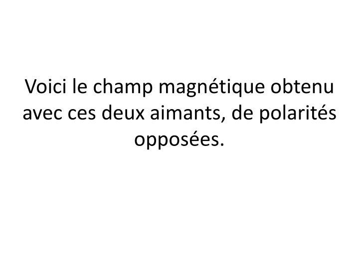 Voici le champ magnétique obtenu avec ces deux aimants, de polarités opposées.