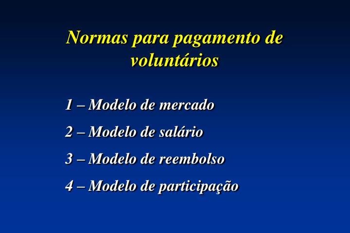 Normas para pagamento de voluntários