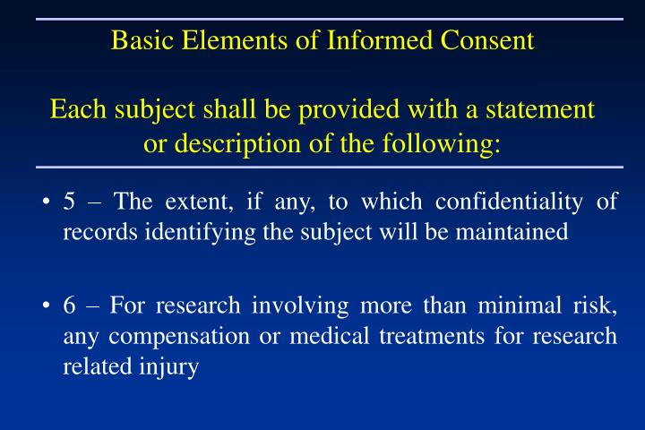 Basic Elements of Informed Consent