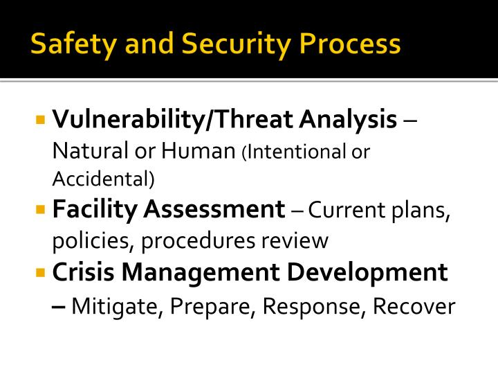 Safety and security process