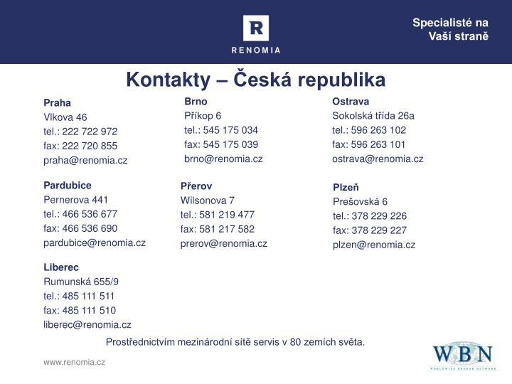 Kontakty – Česká republika