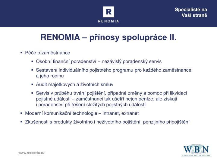 RENOMIA – přínosy spolupráce II.