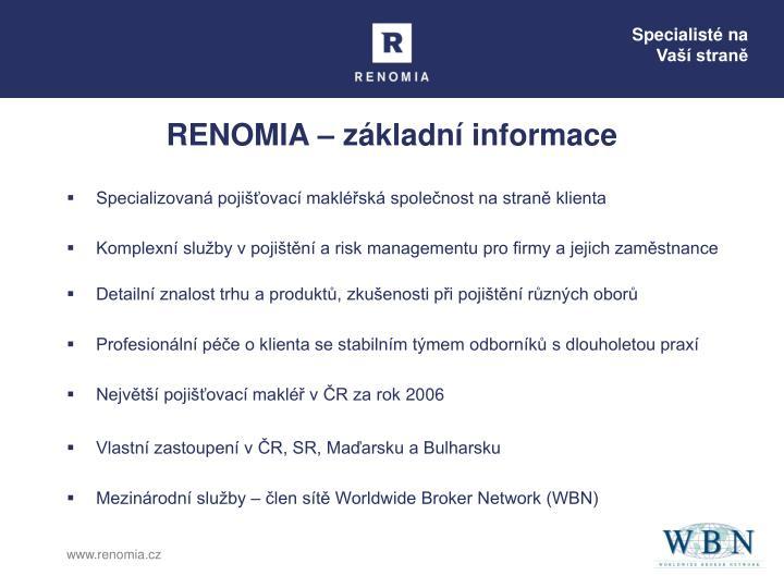 Renomia z kladn informace