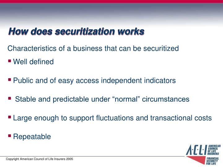 How does securitization works