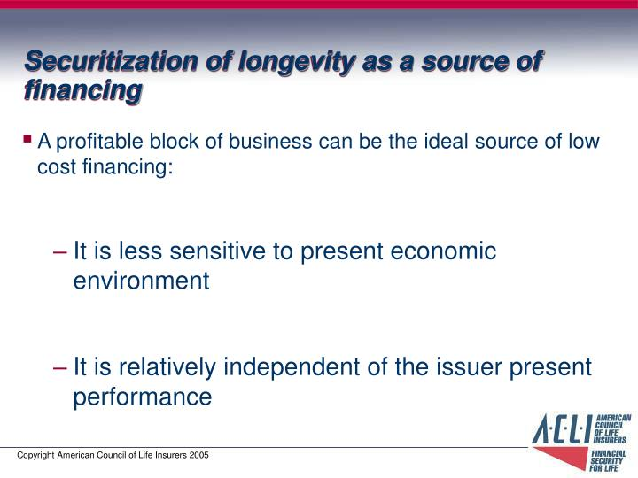 Securitization of longevity as a source of financing