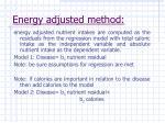 energy adjusted method