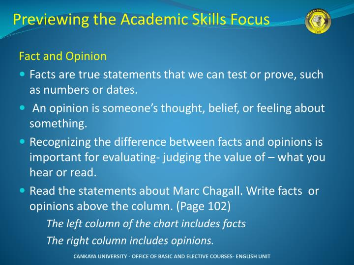 Previewing the Academic Skills Focus