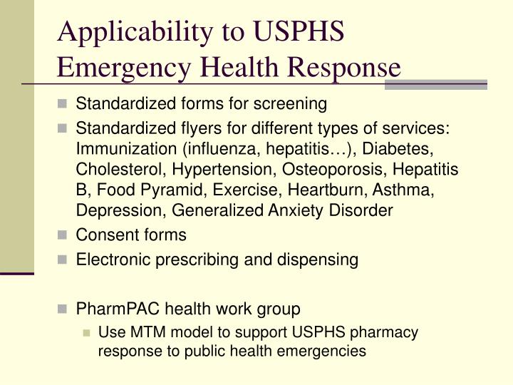Applicability to USPHS Emergency Health Response