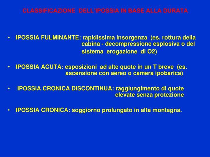 CLASSIFICAZIONE  DELL'IPOSSIA IN BASE ALLA DURATA