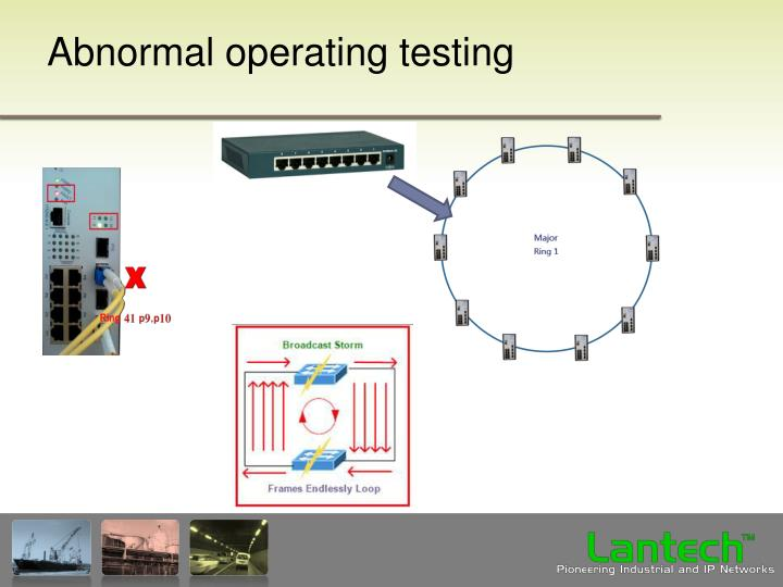Abnormal operating testing