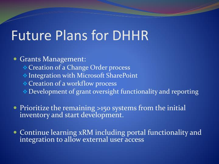 Future Plans for DHHR