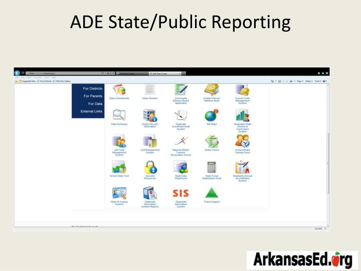 ADE State/Public Reporting