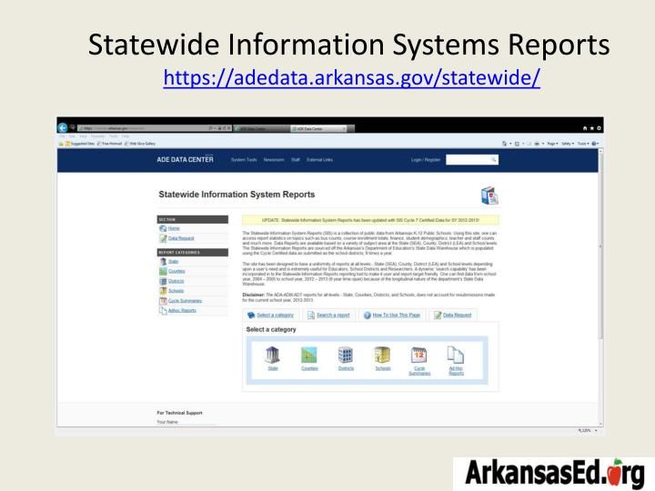 Statewide Information Systems Reports