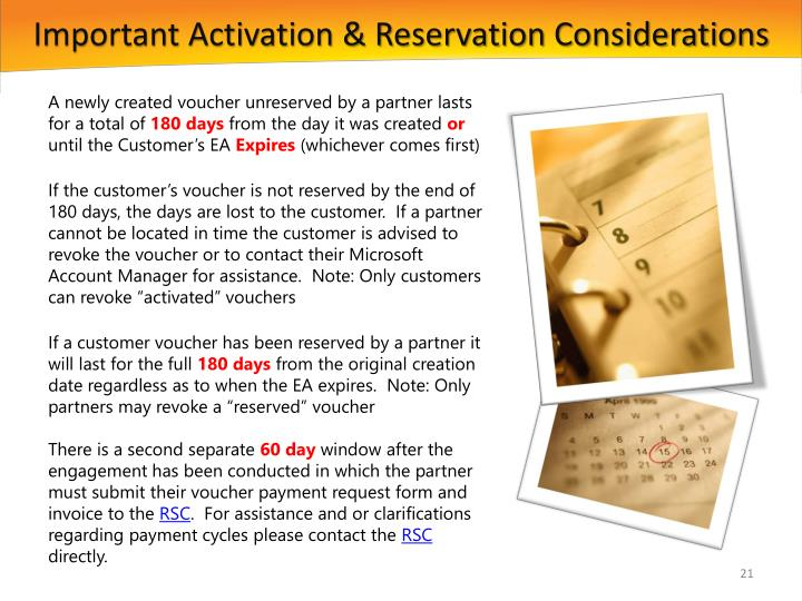 Important Activation & Reservation Considerations