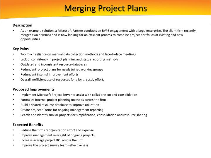 Merging Project Plans