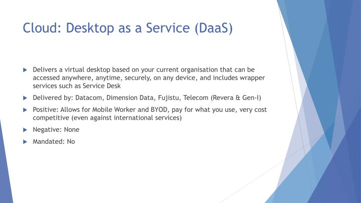 Cloud: Desktop as a Service (DaaS)