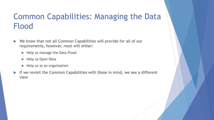 Common Capabilities: Managing the Data Flood