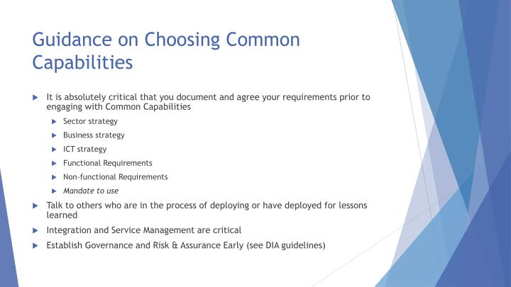 Guidance on Choosing Common Capabilities