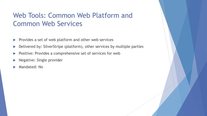 Web Tools: Common Web Platform and Common Web Services