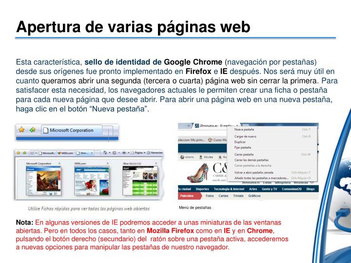 Apertura de varias páginas web