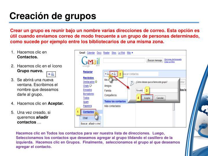 Creación de grupos