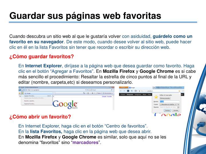 Guardar sus páginas web favoritas