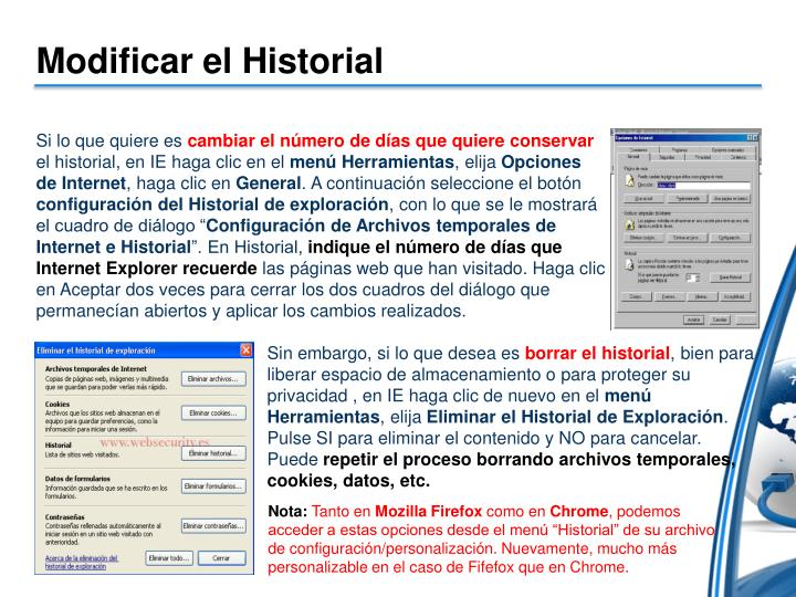 Modificar el Historial