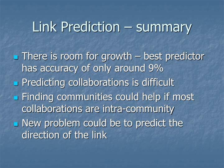 Link Prediction – summary