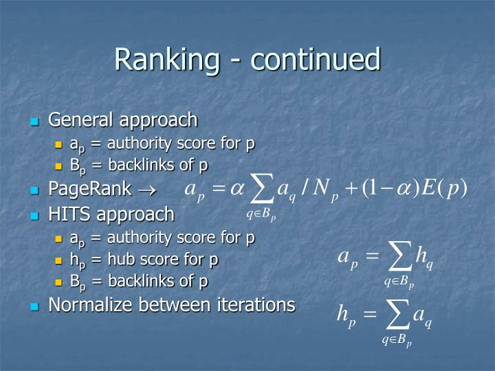 Ranking - continued