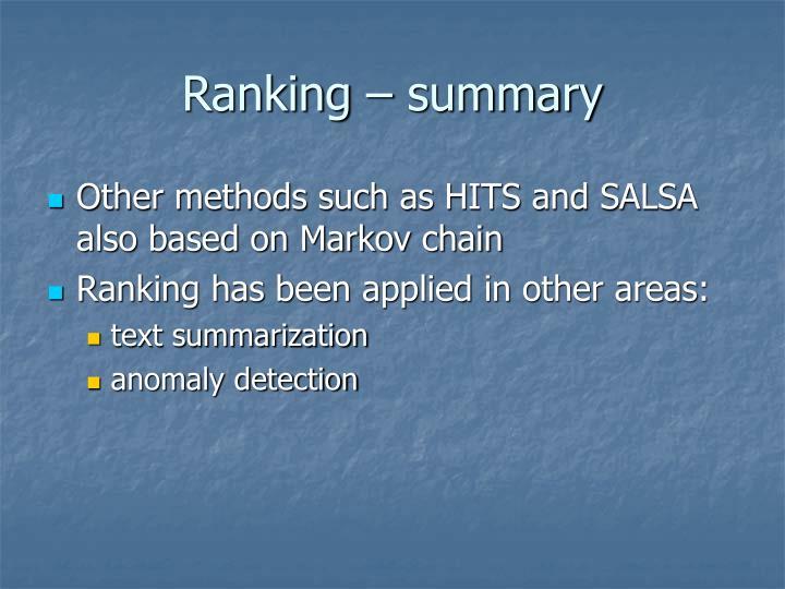 Ranking – summary