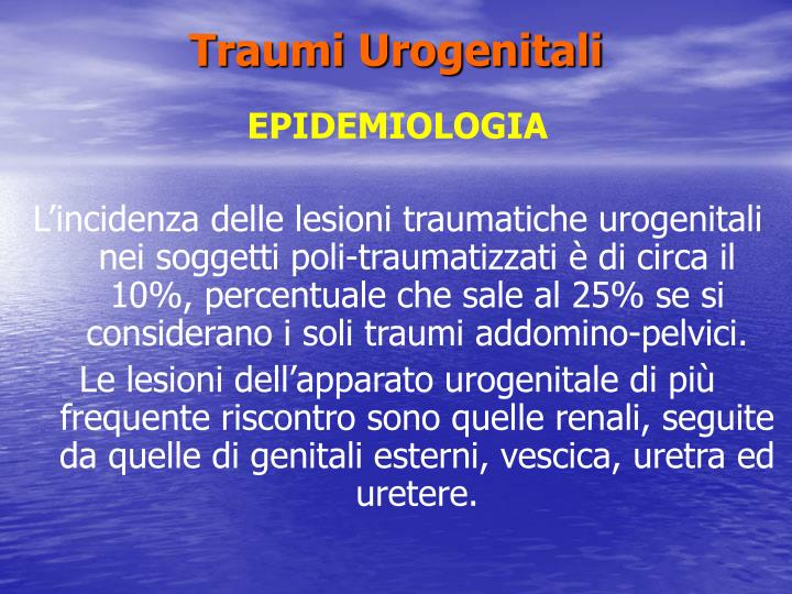 Traumi urogenitali