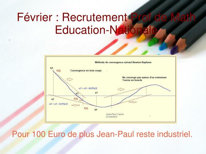 F vrier recrutement prof de math education nationale