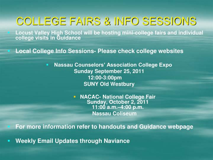 COLLEGE FAIRS & INFO SESSIONS
