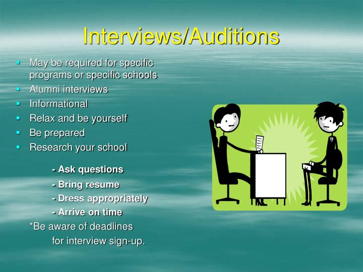 Interviews/Auditions