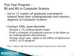 five year program bs and ms in computer science