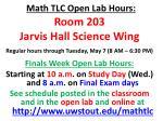 math tlc open lab hours