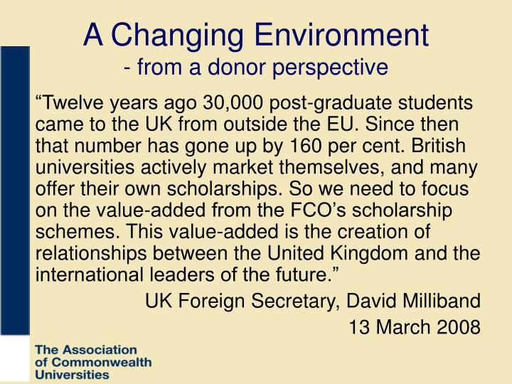 A changing environment from a donor perspective
